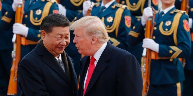 Xi och Trump under ett tidigare möte i Peking.  Andy Wong / TT NYHETSBYRÅN