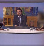 Hultqvist och Åkesson i SVT:s Aktuellt-sändning. SVT