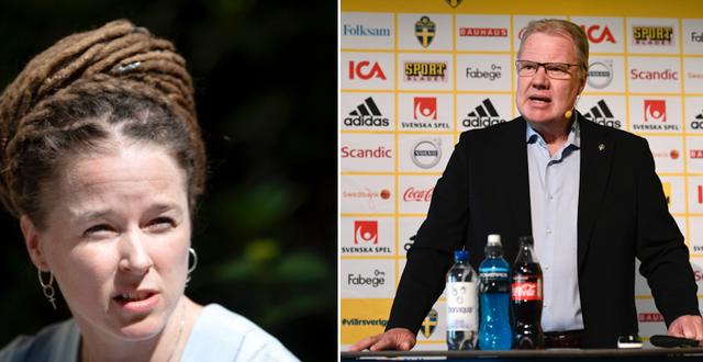 Idrottsminister Amanda Lind och Karl-Erik Nilsson/Arkivbild. TT