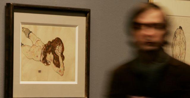 Konstverk av Egon Schiele i Wien.  LILLI STRAUSS / TT NYHETSBYRÅN