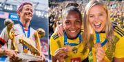 USA:s Megan Rapinoe / Sveriges Madelen Janogy och Fridolina Rolfö.  Bildbyrån