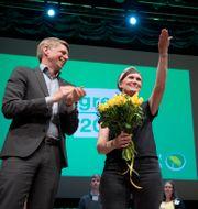 Märta Stenevi gratuleras av språkrören Per Bolund och Isabella Lövin efter att ha valts till partisekreterare förra året. Henrik Montgomery/TT / TT NYHETSBYRÅN