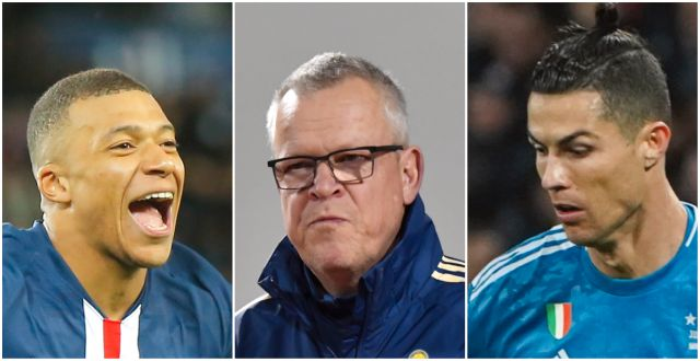 Frankrikes Kylian Mbappé, Sveriges Janne Andersson samt Portugals Cristiano Ronaldo. TT