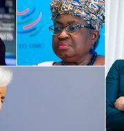 Arkivbilder: USA:s finansminister Janet Yellen, WTO:s generaldirektör Ngozi Okonjo-Iweala, Sveriges finansminister Magdalena Andersson, ECB:s ordförande Christine Lagarde.  TT