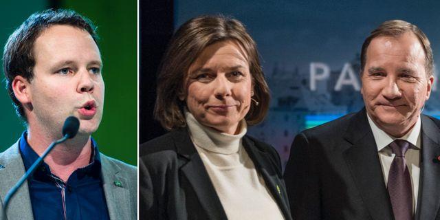 Rickard Nordin, Isabella Lövin och Stefan Löfven.  TT