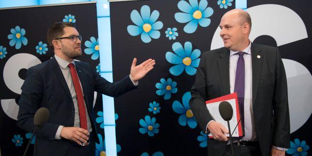 Sverigedemokraternas partiledare Jimmie Åkesson och Patrick Reslow under en pressträff, 2017. Henrik Montgomery/TT / TT NYHETSBYRÅN