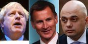 Boris Johnson, Jeremy Hunt och Sajid Javid.  TT.