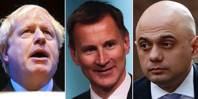 Boris Johnson, Jeremy Hunt och Sajid Javid.  TT.