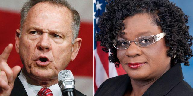 Roy Moore och Gwen Moore.  TT/AP/Pressbild.