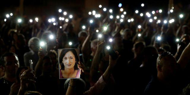 Minnesceremoni för journalisten Daphne Caruana Galizia. Darrin Zammit Lupi / TT NYHETSBYRÅN
