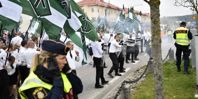 Nazistisk demonstration i Kungälv 2019.  Björn Larsson Rosvall/TT / TT NYHETSBYRÅN