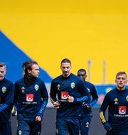 Svenska landslagsspelarna under träningen igår. JOEL MARKLUND / BILDBYRÅN
