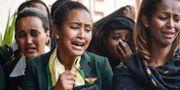 Personal från Ethiopian Airlines på ceremoni i Addis Abeba. AFP
