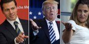 Peña Nieto, Trump och Kanadas utrikesminister Chrystia Freeland. TT