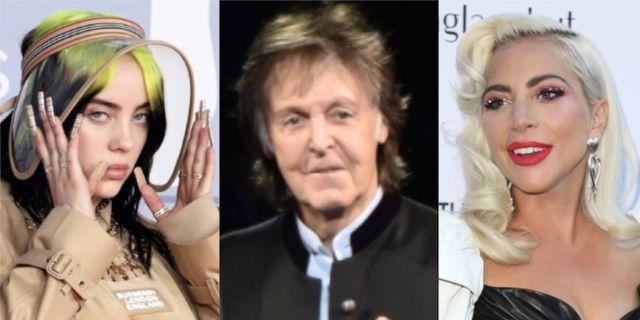 Eilish, McCartnet, Gaga. Arkivbilder. TT