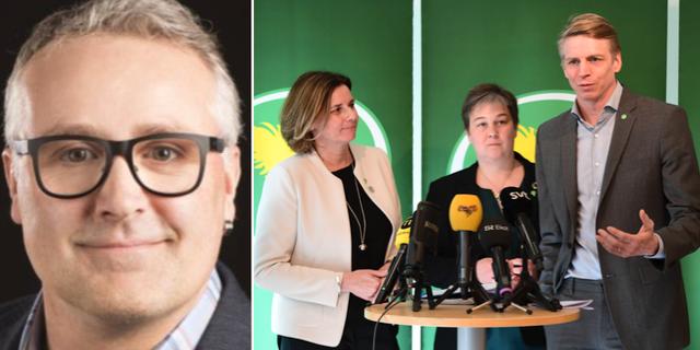 Magnus Wåhlin (MP) och pressträffen där Per Bolund nominerades som språkrörskandidat. Martina Wärenfeldt/Jonas Ekströmer–TT