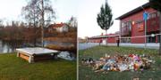 Bild från brottsplatsen i Huskvarna/Kronan i Trollhättan. TT