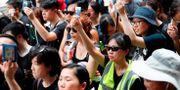 Journalister i Hongkong protesterar mot hur polisen agerat mot dem under demonstrationerna. De håller upp sin presslegitimation.  TYRONE SIU / TT NYHETSBYRÅN