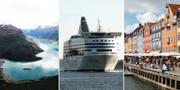 Loen i Norge / Silja Line-färja på väg mot Finland / Nyhavn i Köpenhamn TT
