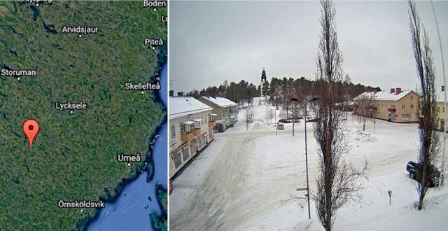 Övre torget i Åsele. Google earth, Åsele kommun