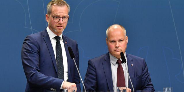 Mikael Damberg och Morgan Johansson. Jonas Ekströmer/TT / TT NYHETSBYRÅN