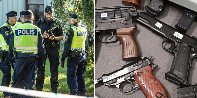 Poliser vid brottsplats/skjutvapen. TT