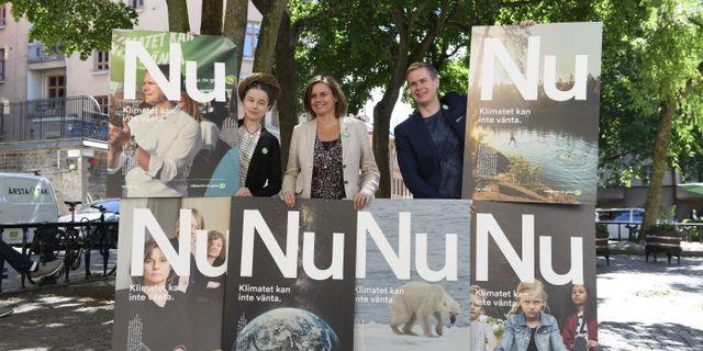 Miljöpartiets ledning presenterar årets valaffischer Pontus Lundahl/TT / TT NYHETSBYRÅN