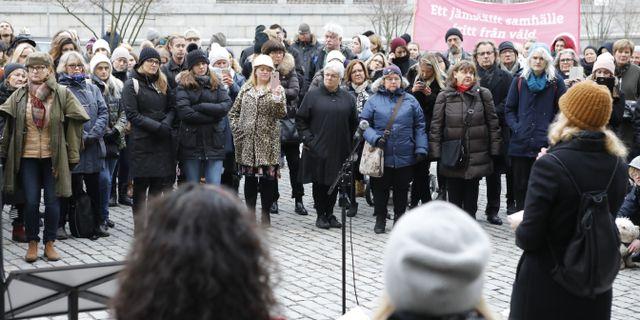 Demonstration på Mynttorget efter den friande domen, december 2017. Christine Olsson/TT / TT NYHETSBYRÅN
