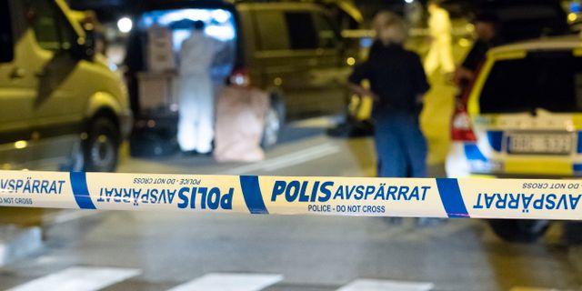 Polisens kriminaltekniker på mordplatsen 2018 Johan Nilsson/TT / TT NYHETSBYRÅN