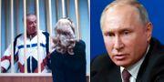 Sergej Skripal och Vladimir Putin. Arkivbilder. TT