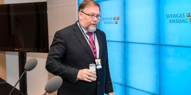 Jansson vid dagens presskonferens. Anders Wiklund/TT / TT NYHETSBYRÅN