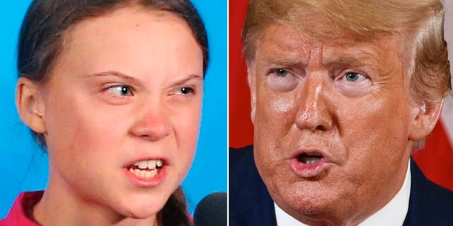 Greta Thunberg/Donald Trump. TT.
