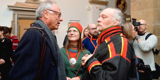 Matti Blind Berg, Girjas samebys ordförande,och Peter Danowsky, Girjas advokat, i Högsta domstolen i Stockholm. Anders Wiklund/TT / TT NYHETSBYRÅN