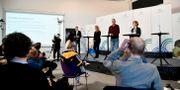 Socialstyrelsens krisberedskapschef Johanna Sandwall, statsepidemiolog Anders Tegnell och Maria Bergstrand, tillförordnad chef enhetschef operativ ledning på MSB, under dagens pressträff. Anders Wiklund/TT / TT NYHETSBYRÅN