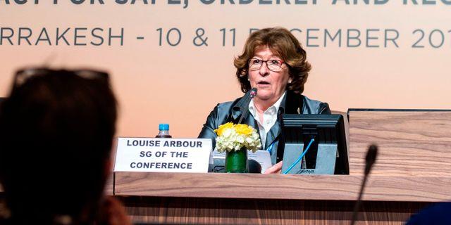 Louise Arbour på en presskonferens inför konferensen i Marrakech. FADEL SENNA / AFP