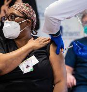 Illustrationsbild: Barbara Shields-Johnson, chef för sjuksköterskeenheten vid Loretto Hospital i Chicago, fick sin andra och sista dos Pfizer/Biontech-vaccin den 5 januari.  Ashlee Rezin Garcia / TT NYHETSBYRÅN