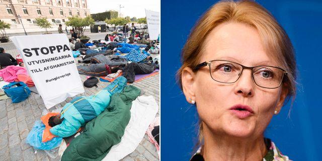 I veckan besökte migrationsminister Heléne Fritzon (S) de strejkande ungdomarna på Mynttorget i Stockholm. TT