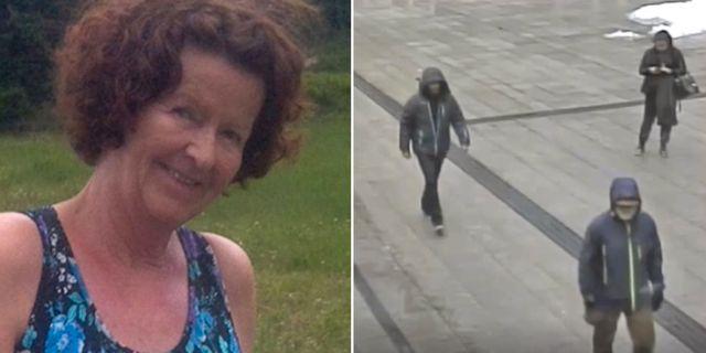 Anne-Elisabeth Hagen/Mannen går längst fram på en övervakningsbild. De andra är inte intressanta för utredningen, enligt polisen. TT/Polisen