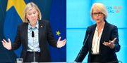 Finansminister Magdalena Andersson (S) och Elisabeth Svantesson (M), ekonomisk-politisk talesperson TT