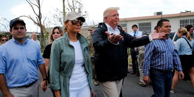 Trump i Puerto Rico den 7 oktober 2017. Jonathan Ernst / TT NYHETSBYRÅN
