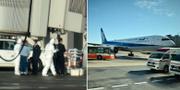 Bilder från evakueringarna på flygplatsen i Wuhan. TT