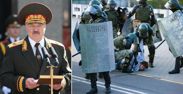 Aleksandr Lukasjenko / Kravallpolis griper en demonstrant i Minsk TT