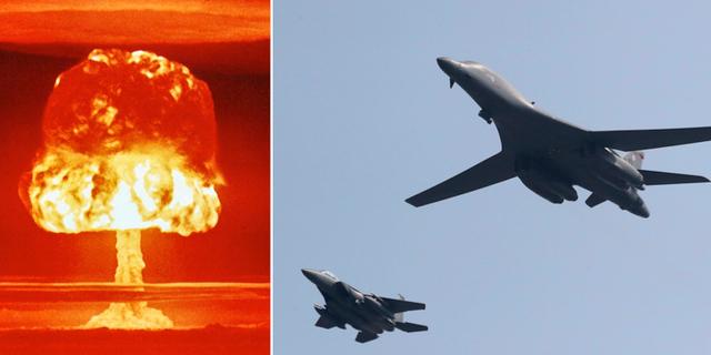 Provsprängning av kärnvapen och amerikanskt bombplan  TT