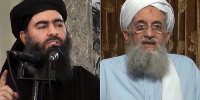 Abu Bakr al-Baghdadi och Ayman al-Zawahiri. TT