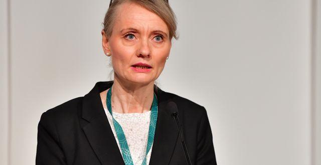 Karin Tegmark Wisell, avdelningschef Folkhälsomyndigheten, under torsdagens myndighetsgemensamma digitala pressträff om coronapandemin Jonas Ekströmer/TT / TT NYHETSBYRÅN