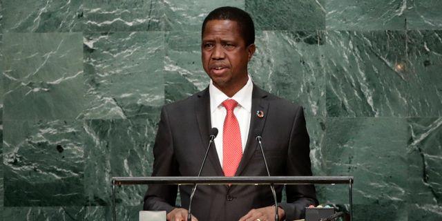 Zambias president Edgar Lungu. Frank Franklin II / TT / NTB Scanpix