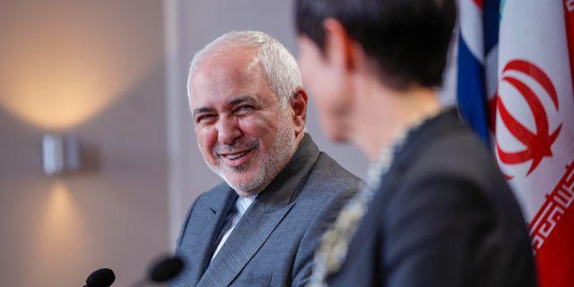 Irans utrikesminister Mohammad Javad Zarif tillsammans med sin norske motsvarighet, Ine Eriksen Søreide.  NTB SCANPIX / TT NYHETSBYRÅN