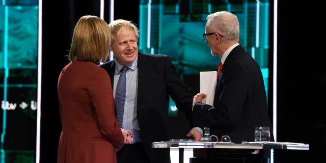 Tv-debatten i tisdags mellan Boris Johnson och Jeremy Corbyn.  Jonathan Hordle/ITV / TT NYHETSBYRÅN
