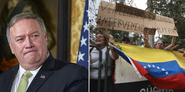 Mike Pompeo och demonstranter i Colombia nära gränsen till Venezuela. TT