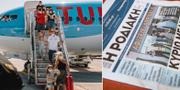 Resenärerna anländer till Rhodos/Grekiska lokaltidningar har svenska turister på förstasidan. TT